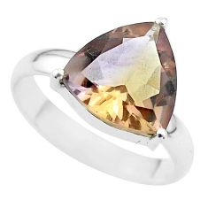 6.70cts solitaire natural purple ametrine trillion silver ring size 10 t50252