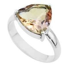 6.54cts solitaire natural purple ametrine trillion silver ring size 11 t50266