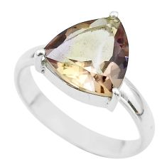 6.82cts solitaire natural purple ametrine trillion silver ring size 11 t50269