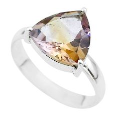 6.53cts solitaire natural purple ametrine trillion silver ring size 11 t50272