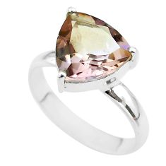 6.54cts solitaire natural purple ametrine trillion silver ring size 11 t50276