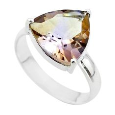 5.92cts solitaire natural purple ametrine trillion silver ring size 12 t50294