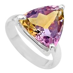 7.97cts solitaire natural purple ametrine trillion silver ring size 7 t24255