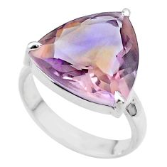 11.52cts solitaire natural purple ametrine trillion silver ring size 8 t45117