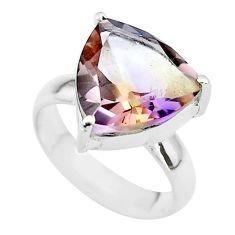 6.38cts solitaire natural purple ametrine trillion silver ring size 5.5 t50224