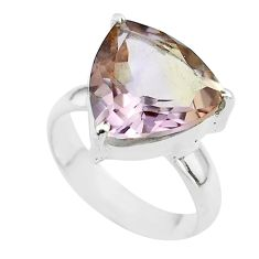 6.38cts solitaire natural purple ametrine trillion silver ring size 5.5 t50226