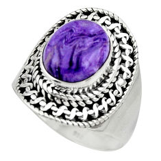 5.08cts solitaire natural purple charoite (siberian) silver ring size 8.5 r49522