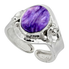 4.28cts solitaire natural purple charoite silver adjustable ring size 7.5 r50188
