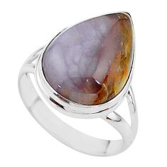 13.77cts solitaire natural purple grape chalcedony silver ring size 10 t17939