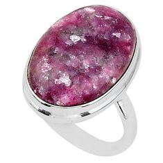 22.23cts solitaire natural purple lepidolite 925 silver ring size 11 t1506