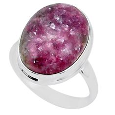 17.59cts solitaire natural purple lepidolite 925 silver ring size 11 t1510