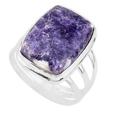15.26cts solitaire natural purple lepidolite 925 silver ring size 11 t17794