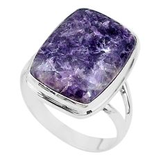 13.79cts solitaire natural purple lepidolite 925 silver ring size 11 t17797