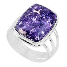 15.69cts solitaire natural purple lepidolite 925 silver ring size 11 t17799