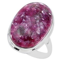 20.71cts solitaire natural purple lepidolite 925 silver ring size 9 t1509