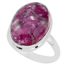 16.46cts solitaire natural purple lepidolite 925 silver ring size 11.5 t1501