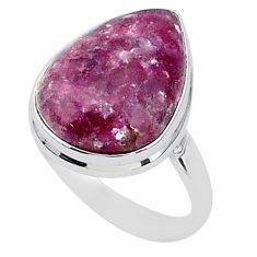 15.47cts solitaire natural purple lepidolite 925 silver ring size 11.5 t1502