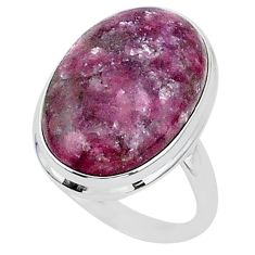 22.15cts solitaire natural purple lepidolite 925 silver ring size 11.5 t1513