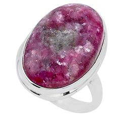 20.71cts solitaire natural purple lepidolite 925 silver ring size 10.5 t1514
