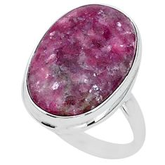 20.33cts solitaire natural purple lepidolite 925 silver ring size 10.5 t1515