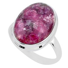 17.69cts solitaire natural purple lepidolite 925 silver ring size 11.5 t1518