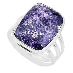14.44cts solitaire natural purple lepidolite 925 silver ring size 10.5 t17795