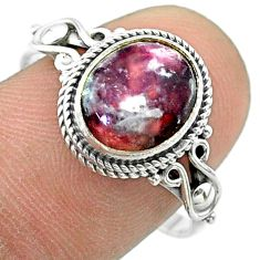 3.91cts solitaire natural purple lepidolite oval 925 silver ring size 9 t57447