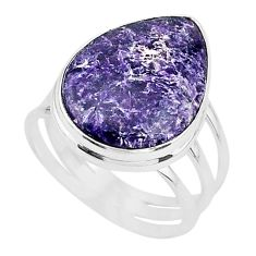 16.43cts solitaire natural purple lepidolite pear 925 silver ring size 10 t17798