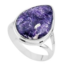 12.83cts solitaire natural purple lepidolite pear silver ring size 9.5 t17793