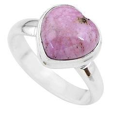 5.11cts heart purple phosphosiderite 925 silver handmade ring size 7 t21750