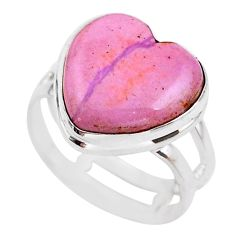 6.40cts solitaire natural purple phosphosiderite 925 silver ring size 7 t25055