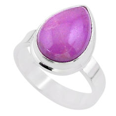 6.08cts solitaire natural purple phosphosiderite 925 silver ring size 7 t28095
