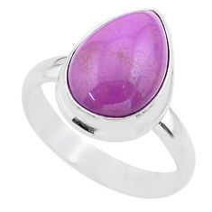 6.04cts solitaire natural purple phosphosiderite 925 silver ring size 8 t28106
