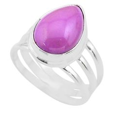 6.62cts solitaire natural purple phosphosiderite 925 silver ring size 7.5 t28081