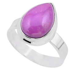 6.35cts solitaire natural purple phosphosiderite 925 silver ring size 8.5 t28094