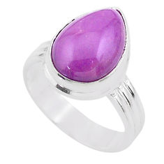 6.04cts solitaire natural purple phosphosiderite 925 silver ring size 7.5 t28101
