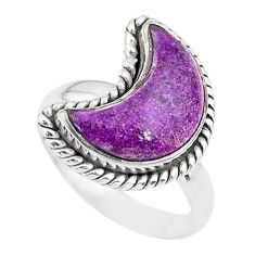 5.82cts moon natural purple purpurite stichtite silver ring size 7 t22163