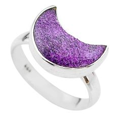 5.84cts moon natural purple purpurite stichtite silver ring size 8 t22082