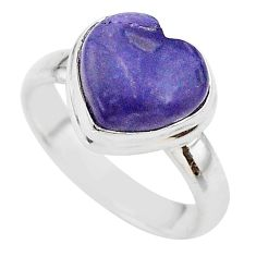 3.91cts heart natural purple tiffany stone 925 silver ring size 6 t21699