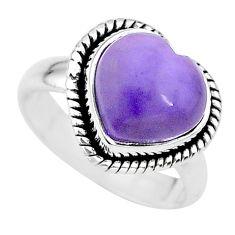4.82cts heart purple tiffany stone 925 silver handmade ring size 6 t21756