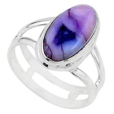 6.03cts solitaire natural purple tiffany stone 925 silver ring size 8 t15567
