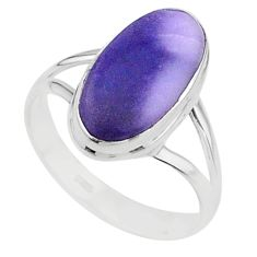 5.45cts solitaire natural purple tiffany stone 925 silver ring size 8 t15569