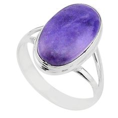 8.06cts solitaire natural purple tiffany stone 925 silver ring size 9 t15579