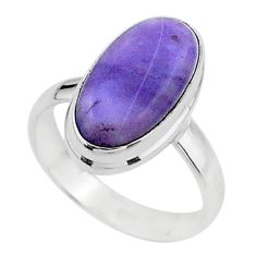 5.22cts solitaire natural purple tiffany stone 925 silver ring size 6.5 t15562