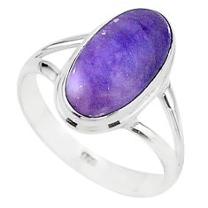 5.76cts solitaire natural purple tiffany stone 925 silver ring size 8.5 t15564