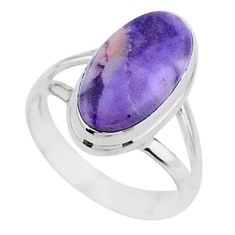 5.84cts solitaire natural purple tiffany stone 925 silver ring size 6.5 t15572