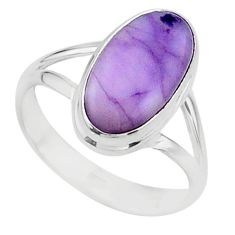 5.79cts solitaire natural purple tiffany stone 925 silver ring size 8.5 t15580