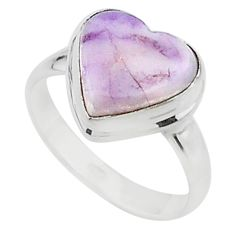 5.50cts solitaire natural purple tiffany stone 925 silver ring size 7.5 t15590