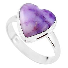 6.19cts solitaire natural purple tiffany stone 925 silver ring size 8.5 t15630