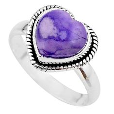 5.09cts heart purple tiffany stone 925 silver handmade ring size 9.5 t21742